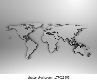 Metal World Map High resolution 3d render