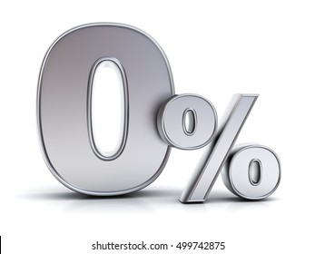 Metal zero percent or 0 % isolated over white background with reflection. 3D rendering.