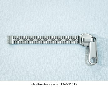 metal zipper isolated ona blue background