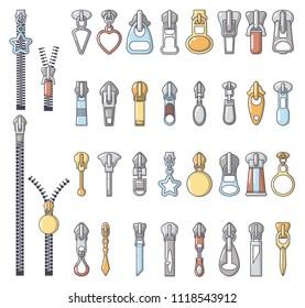 Metal zipper puller icons set. Cartoon illustration of 32 Metal zipper puller icons for web