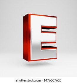 Metall letter E uppercase isolated on white. 3D rendered red and white metallic glossy alphabet type for banner, poster, decoration.