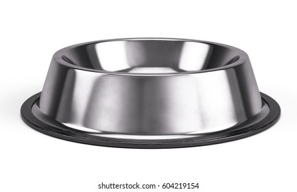 Metall Pet bowl isolated on the white background. 3d render