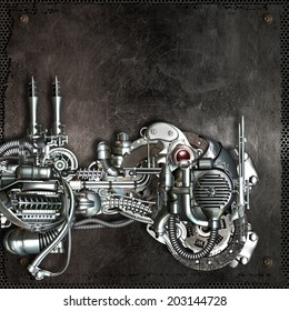 Metallic background with technology and mechanical objects