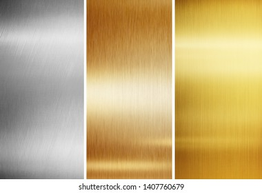 Metallic background textures. Gold, silver and copper metal plates isolated on white