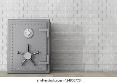 Metallic Bank Safe in front of Brick Wall. 3d Rendering