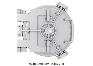 Metallic bank vault door on a white background