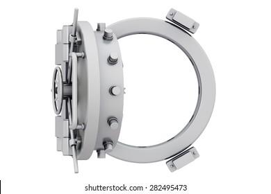 Metallic bank vault door on a white background