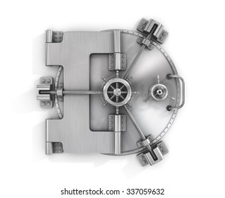 The metallic bank vault door on a white background isolated on white with clipping path.