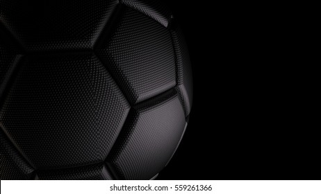 Metallic black soccer ball. 3D illustration. 3D CG. High resolution. Format 16:9.