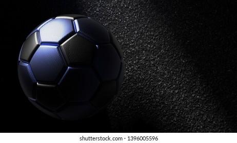 Metallic Black-Blue Soccer ball on the black asphalt wall under slit light. 3D illustration. 3D high quality rendering.