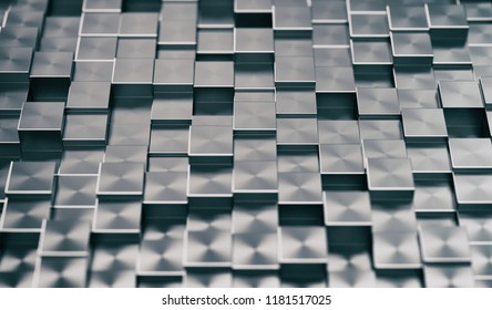 Metallic Blocks Abstract Background. 3D illustration