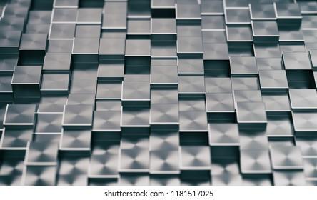 Metallic Blocks Abstract Background. 3D illustration