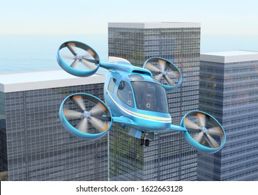 Metallic blue flying car (air taxi) flying in modern city. 3D rendering image.