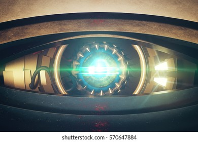 Metallic blue robotic eye with abstrat bright light. Front view, Cyber technology concept. 3D Rendering
