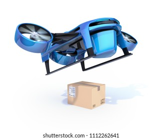 Metallic blue VTOL drone carrying delivery packages takeoff from white background. 3D rendering image.