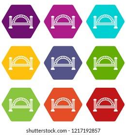 Metallic bridge icons 9 set coloful isolated on white for web