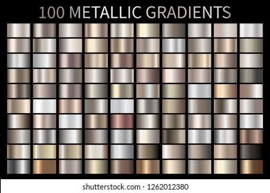 Metallic, bronze, silver, gold, chrome, copper metal foil texture gradient template. Swatch set. Metallic gradient illustration gradation for backgrounds, banner, user interface template design