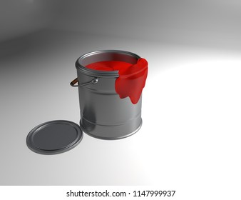 Metallic Can Paint with Red Ink 3D Rendered