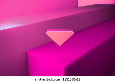 Metallic Caret Down Icon. 3D Illustration of Metallic Arrow, Caret, Down, Download Icon Set With Boxes on Magenta Background.