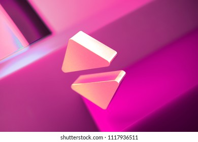 Metallic Caret Up and Down Icon on the Geometric Background. 3D Illustration of Metallic Arrows, Down, Sort, Up, Vertical, Vertically Icon Set With Pink Boxes.