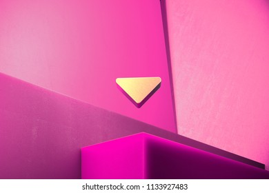 Metallic Caret Down Icon on the Magenta Background. 3D Illustration of Metallic Arrow, Caret, Down, Download Icon Set With Color Boxes on Magenta Background.