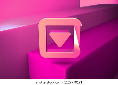 Metallic Caret Down in Square Icon. 3D Illustration of Metallic Arrow, Caret, Down, Pointer, Select, Selector Icon Set With Boxes on Magenta Background.