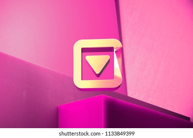Metallic Caret Down in Square Icon on the Magenta Background. 3D Illustration of Metallic Arrow, Caret, Down, Pointer, Select, Selector Icon Set With Color Boxes on Magenta Background.