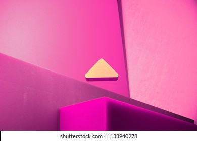 Metallic Caret Up Icon on the Magenta Background. 3D Illustration of Metallic Arrow, Caret, Drop Up, Up, Upload Icon Set With Color Boxes on Magenta Background.