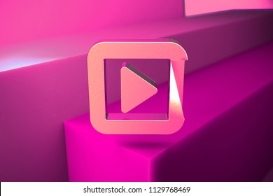 Metallic Caret Right in Square Icon. 3D Illustration of Metallic Arrow, Audio, Caret, Next, Play, Player, Right Icon Set With Boxes on Magenta Background.