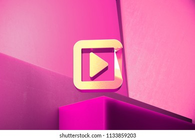 Metallic Caret Right in Square Icon on the Magenta Background. 3D Illustration of Metallic Arrow, Audio, Caret, Next, Play, Player, Right Icon Set With Color Boxes on Magenta Background.
