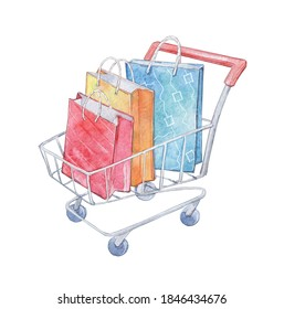 metallic cart with shopping packages watercolor art