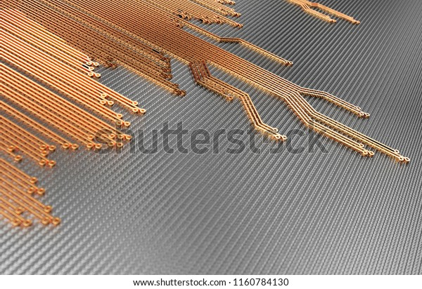 Metallic Circuit Board Abstract Background. 3D illustration