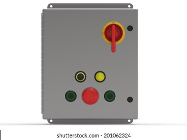 Metallic control box face view isolated on white
