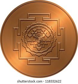Metallic Copper Shree Yantra Design