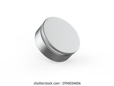 Metallic cosmetic jar mockup, blank aluminium round tin box on isolated white background, 3d illustration