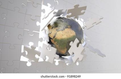 World map jigsaw puzzle stock illustration 290700326 shutterstock metallic earth gloeb crashing through a wallbuild of jigsaw puzzle pieces gumiabroncs Gallery