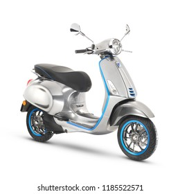 Metallic Electric Scooter Isolated on White Background. Side View Classic Stainless Steel Motor Scooter. Retro Motorcycle with Step-Through Frame and a Platform. Modern Personal Transport 3D Rendering