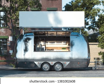 Metallic food trailer on cityscape background with blank billboard. 3d rendering
