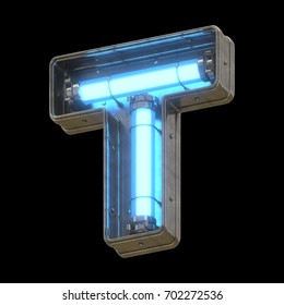 Metallic futuristic font with blue neon lights. 3d rendering.