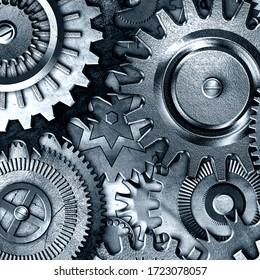 metallic gears background, 3D illustration