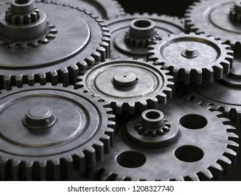 metallic gears and cogs,3d rendering,conceptual image.