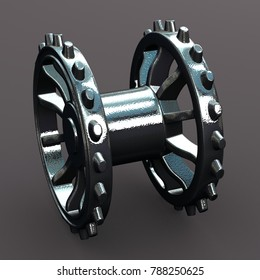 metallic gearwheel 3D rendering