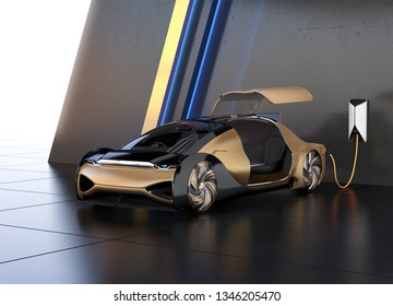 Metallic gold electric car charging in charging station. Original design. 3D rendering image.
