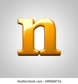 Metallic gold letter N lowercase. 3D render font with glint and light reflection isolated on white background.