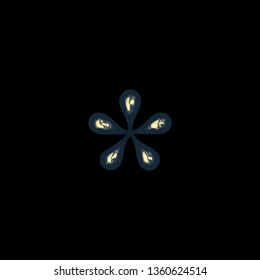 Metallic golden blue asterisk or star shape symbol in a 3D illustration with a colorful gold blue color and shiny glossy metal finish in a rough edge font on black with clipping path
