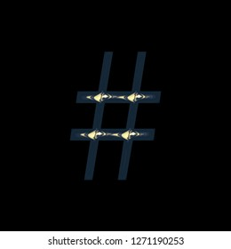 Metallic golden blue hashtag social media icon or pound sign symbol in a 3D illustration with a colorful gold blue color and shiny glossy metal finish in a libertine font on black with clipping path