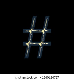Metallic golden blue hashtag social media icon or pound sign symbol in a 3D illustration with a colorful gold blue color and shiny glossy metal finish in a rough edge font on black with clipping path