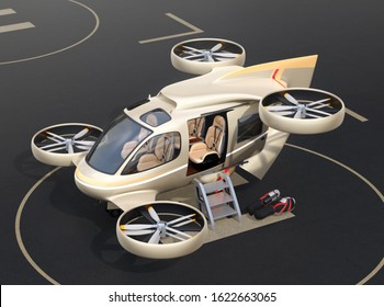 Metallic golden flying car ( air taxi) parking on Drone Port.  3D rendering image.