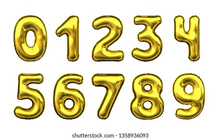 Metallic Golden Letter Balloon font numeral digit number alphabet - 3D illustration