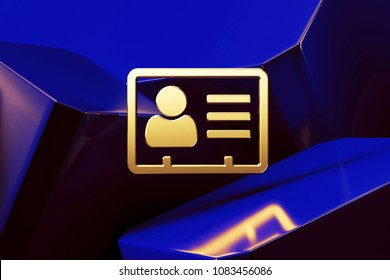 Metallic Golden Vcard Icon With the Blue Glossy Boxes. 3D Illustration of Fine Golden v Card, v Card, Vcard, Vcard File, Vcard File Icon Set on the Blue Geometric Background.